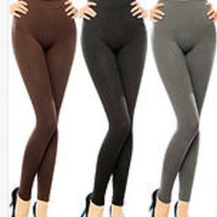 Hi Waist Solid Color Fleece Lined Leggings