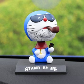 Cute Car Styling Anime For Doraemon Head Shaking Toy Model Car Decoration PVC Doll Auto Ornaments Accessories