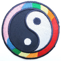 "Yin Yang Rainbow Flag LGBT Iron On Embroidered Patch 2.9""/7.4cm"