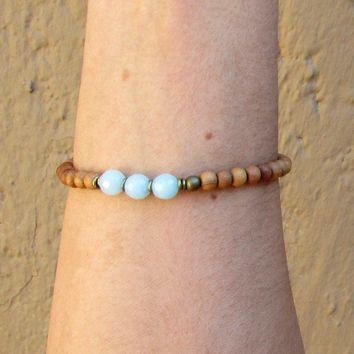 Communication, Fifth Chakra, Sandalwood and Amazonite Mala Bracelet
