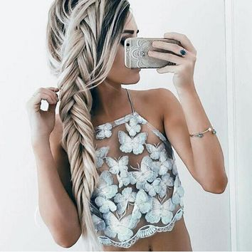Sexy Patchwork Crop Tops White Sleeveless Party