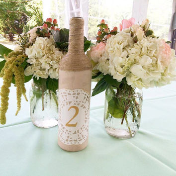 rustic table numbers set of 12 wedding decoration wedding accessories rustic wedding wine bottle table numbers