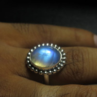 Rainbow Moonstone  Ring Oval Shape Cabochon Ring So Nice Blue  Flash Fire Ring Designer Ring Silver Ring