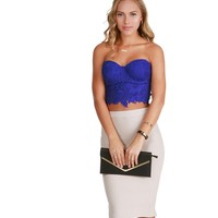 Royal Blossomed Crochet Crop Top