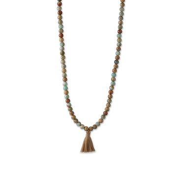 Jasper Mala Bead Fashion Necklace with Tassel