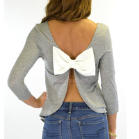 Peek-A-Bow Grey Bow Back Top