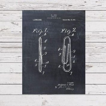 Patent Print of a Paper Clip - Patent Art - Patent Print - Patent Poster - Office Art - Office Supplies