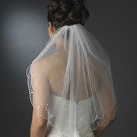 Beaded Scalloped Two Layer Shoulder Length Wedding Veil