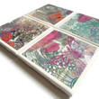 Ceramic Tile Coasters Set of Four Felt Backing Butterflies and Flowers