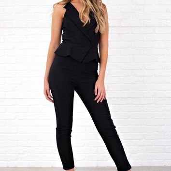 Eclipse V Neck Jumpsuit (Black)