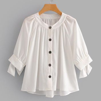 Button Front Tie Cuff Blouse