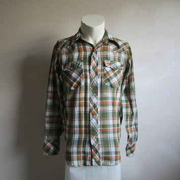 Vintage 80s Western Mens Shirt Green Orange Plaid 80s Country Rockabilly Shirt Small
