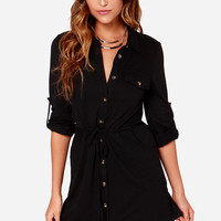 LULUS Exclusive Brave and the Bold Black Long Sleeve Shirt Dress