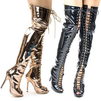 Opus1C Corset Military Lace Up OTK Over Knee Thigh High Boots w Heel & Peep Toe