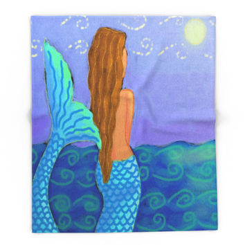 Society6 Mermaid Watching The Sun Abstract Digital Pain Blanket