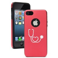 Apple iPhone 5c Red CD2032 Aluminum & Silicone Case Cover Stethoscope in Shape of Heart Nurse Doctor