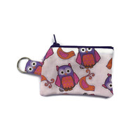 Owl Coin Purse, Extra Small Owl Wallet, Keyring Coin Pouch