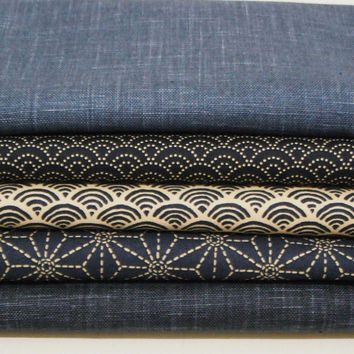 Asanoha Seigaiha Japanese cotton fabric pack for quilting patchwork craft and sewing (C)