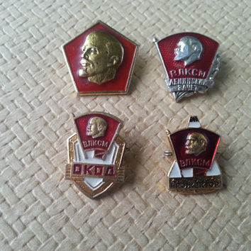 Set of 4 Soviet Vintage VLKSM Pins Badges of Young Communists Made in USSR in 1970s.