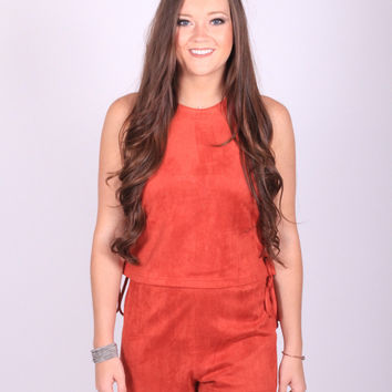 Rust Lace Up Romper