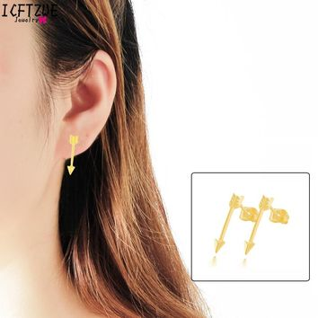 ICFTZWEc The Hunger Game Arrow Studs Gold Earrings Fashion Jewelry One Direction Piercing For Women Pendientes Mujer