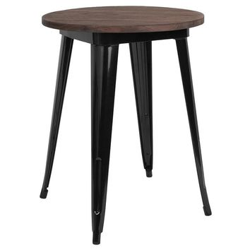 "24"" Round Metal Indoor Table with Walnut Rustic Wood Top"