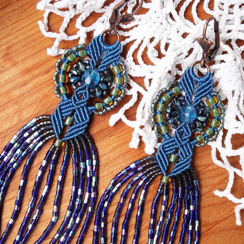 Long micro macrame earrings - Tassel Fringe Deep Blue Green Peacock Unique