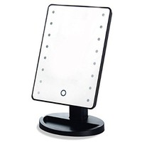 RightOn Lighted Makeup Mirror with LED Lights -Touchscreen Sensor With DIMMABLE Lights - Excellent Table Top Cosmetic Mirror For Bathroom Vanity Perfect for Travel (Black-Touch Screen)