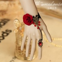 SexyLady Craft Lace Flowers Retro Bracelet Ring Set for Costume Party Fancy Ball Masquerade Wedding