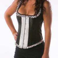 Black and Silver corset top,Satin finish