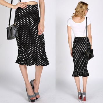 New Sexy Women's High Waist Polka Dot Ruffle Hem Skirt Pencil Skirt