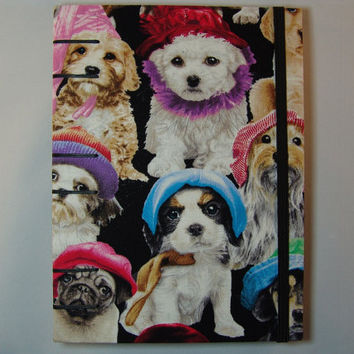 Handmade Fabric Journal - Coptic Stitched - Dogs with Hats