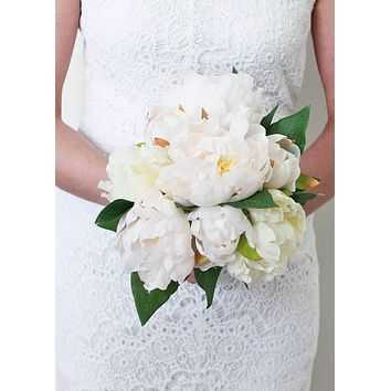 "Silk Wedding Bouquet in Peony -White and Pastel Pink14"" Tall"
