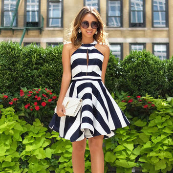 High Neck Bear Off Shoulder Striped Hollow Out Pleated Swing Dress