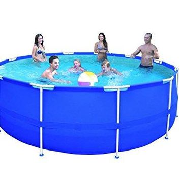 By PoolCentral 15' x 48 inch  Round Blue Steel Frame Above Ground Swimming Pool Set