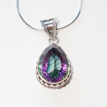 Mystic Fire Topaz Pendant SALE 925 Silver Mother's Day Romantic Colorful Gemstone Gift Ideas for Mom Luxury Gift Ideas for Wife Trend Items