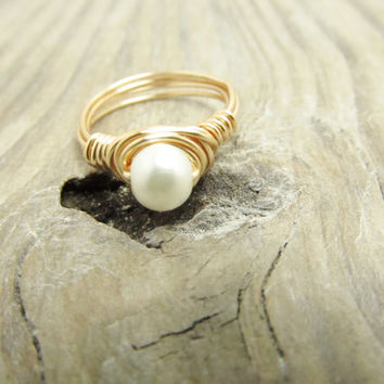 Pearl Wrapped Ring Wedding Ring Bridal Ring Custom Ring Rose Gold Filled Wire Wrap Ring White Freshwater Pearl Women Romantic Ring Any Size