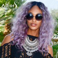 Long Curly Synthetic Fashion Blue Ombre Purple Rain Parting Women's Wig