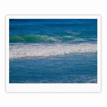 "Nick Nareshni ""Solana Beach Rolling Waves"" Blue Coastal Fine Art Gallery Print"