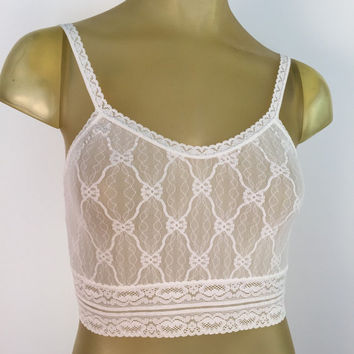 Cropped Cami, White Lace Bralette vintage long line bra top Lace camisole vintage Lingerie see through lace crop top low back M Marie Ellyse