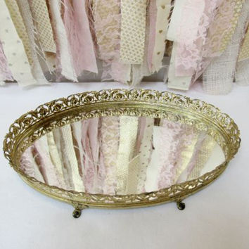 Vanity Makeup Mirror Mirrored Tray Boudoir, Gold Brass Vintage Antique Baby Nursery Decor Bathroom, Bridal Baby Shower Decor