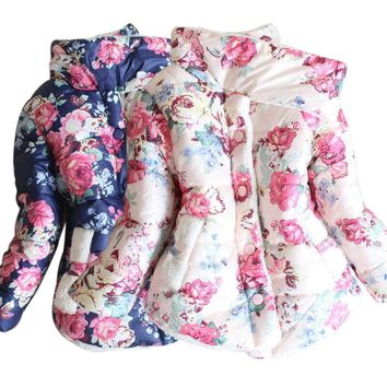 Toddler Baby Girls Floral Hooded Coat Outerwear Jackets Warm Winter Thick Parka