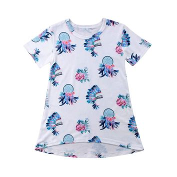 2018 Fashion Toddler Baby Girl Gypsy Feather Summer Cotton Floral Dress Kid Dresses Sundress