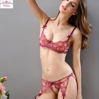 Yeafey Bra & Brief Set Sexy Bra and Panty Sets Lingerie Plus Size Women Underwear Set Embroidery Transparent Push Up French
