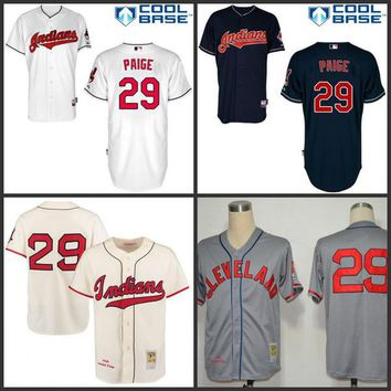 2016 World Series Patch Men's Cleveland Indians 1948 Satchel Paige Mitchell & Ness Cream Authentic Throwback Jersey