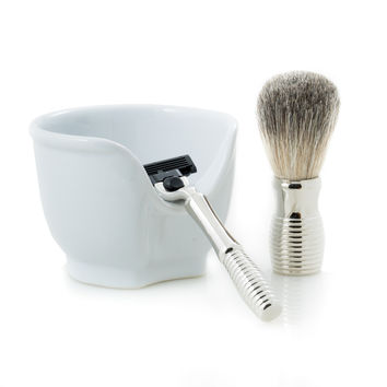 """Chrome Plated """"Mach 3"""" Razor and Badger Brush with a White Porcelain Soap Dish."""
