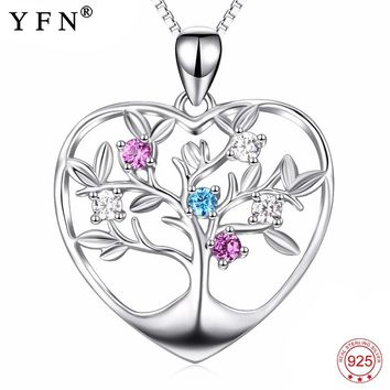 Genuine 925 Sterling Silver Tree Of Life Pendants Necklaces Love Heart Colorful Crystal CZ Jewelry Necklace For Women PYX0048