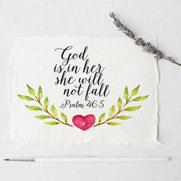 Psalm 46:5 Printable wall decor Bible verses God is within her she will not fall Nursery verse print decor scripture art printable FLORAL