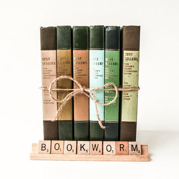 Decorative Book Stack in Greens and Neutrals / 1960's Reader's Digest Set
