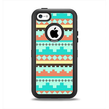 The Teal & Gold Tribal Ethic Geometric Pattern Apple iPhone 5c Otterbox Defender Case Skin Set